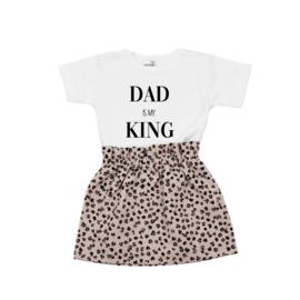 Shirt Dad is my King | Rokje Leopard Old Pink