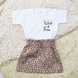 Shirt Wild & Free | Rokje Leopard Taupe