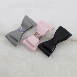 Hair Clip | Leather | Rose, Grey & Black | 3 stuks