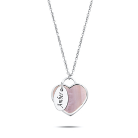 Seashell heart Necklace | Personalized | Silver