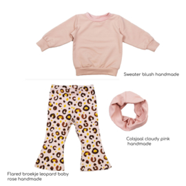 Outfit Deal   Sweater Blush & Flared Broekje Leopard Baby Rose