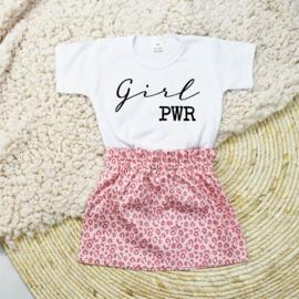 Shirt Girl PWR | Rokje Leopard Pink