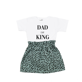 Shirt Dad is my King | Rokje Leopard Old Green