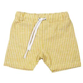 Shorts met touwtje | Linnen Ochre Lines | Handmade