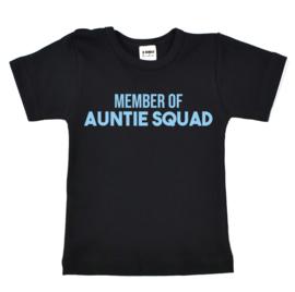 Shirt | Zwart/Licht Blauw | Member of auntie squad | 74/80 | LANGE MOUW | SS