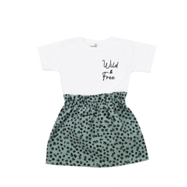 Shirt Wild & Free | Rokje Leopard Old Green