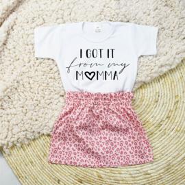 Shirt Got it from my Momma | Rokje Leopard Pink