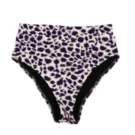 Exclusive Woman Highwaist Bikini Pants | Leopard Bluish Purple | Handmade