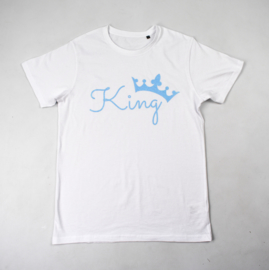 Sample sale | Heren T-shirt | King | Wit/Glitter Blauw | M