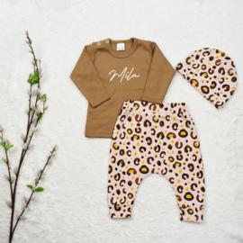 Outfit Deal   Naamshirt & Harembroekje Leopard Baby Rose