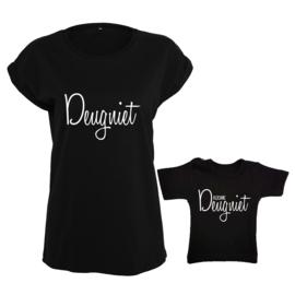 Twinning set - damesshirt & baby shirt - Deugniet & Kleine deugniet