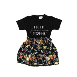Shirt I got it from my Momma | Rokje Floral Black