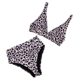 Exclusieve Dames Highwaist Bikini (Triangel) | Leopard Bluish Purple | Handmade