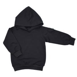 Hoodie with cargopocket | Black | Handmade