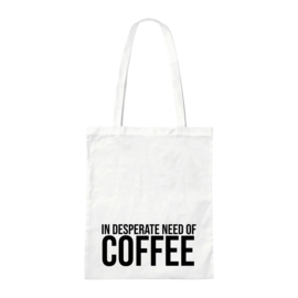 Canvas tas - Need Coffee - Wit
