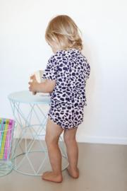 Exclusive Baby Highwaist Bikini UV shirt | Leopard Bluish Purple | Handmade