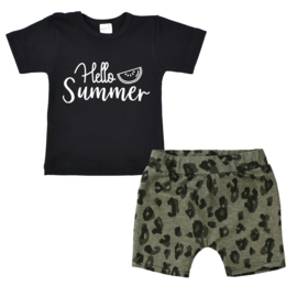 Shirt Hello summer | Shorts Leopard Khaki