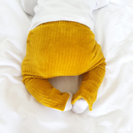 Legging with split | Corduroy Ochre Yellow | Handmade