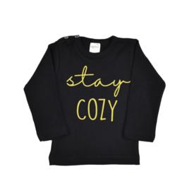Shirt   Zwart/Goud   Stay Cozy   104   KORTE MOUW   SS