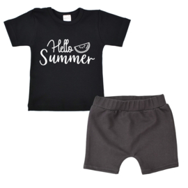Zomerdeal - Shirt Hello summer - Shorts Jeans Grey