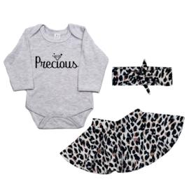 Kraamkadobox -  Romper Precious - Cirkelrokje + Haarband - Summer Leopard