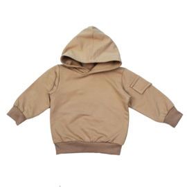 Hoodie with fake pocket | Mokka | Handmade