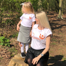 Twinning set - damesshirt & baby shirt - Queen & Princess