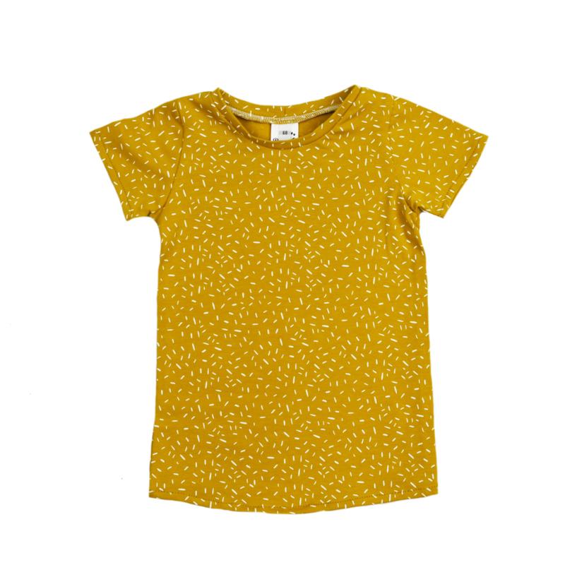 T-Shirt Dress | Sprinkles Ochre Yellow | Handmade