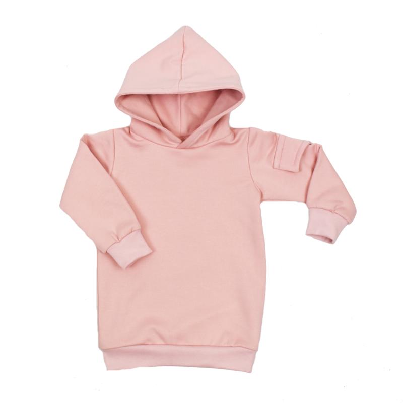 Baggy Hoodie Dress met Zijzakje   Cloudy Pink   Handmade
