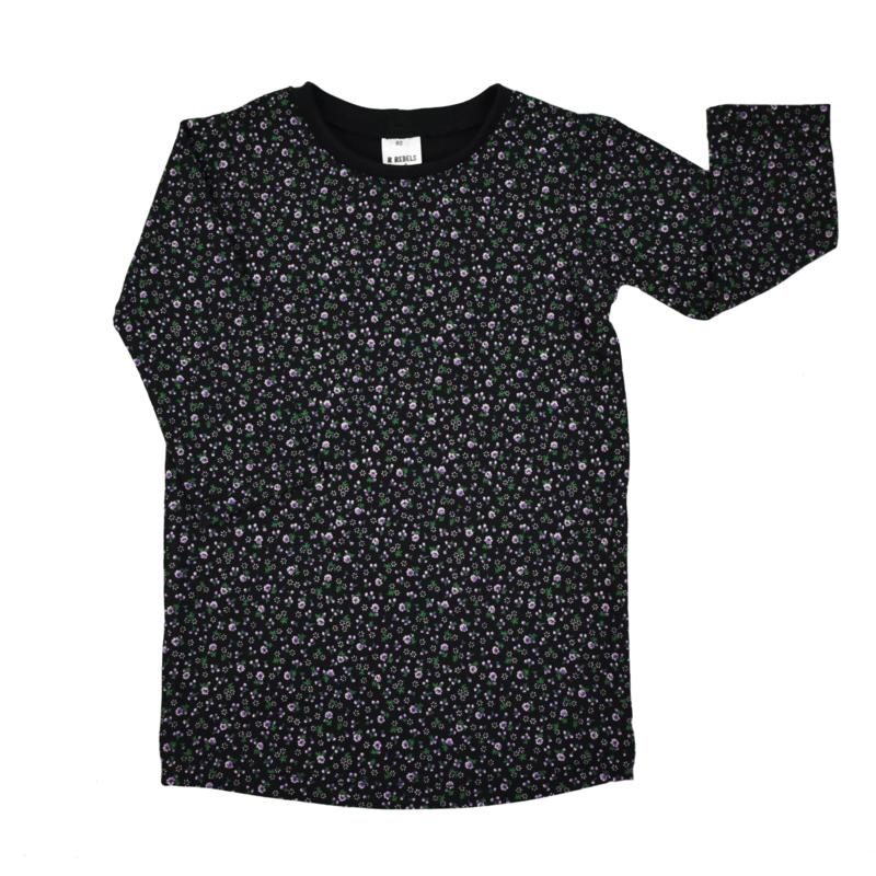 T-Shirt Dress   Mini Flower   Black   Handmade