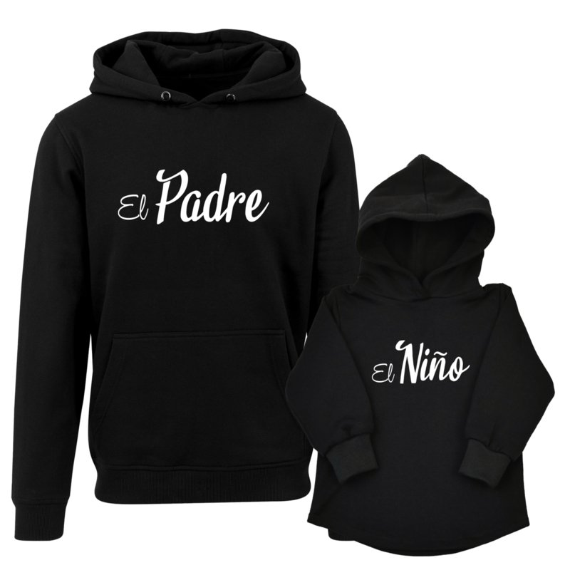 Twinning hoodies   El Padre   El Niño   Black