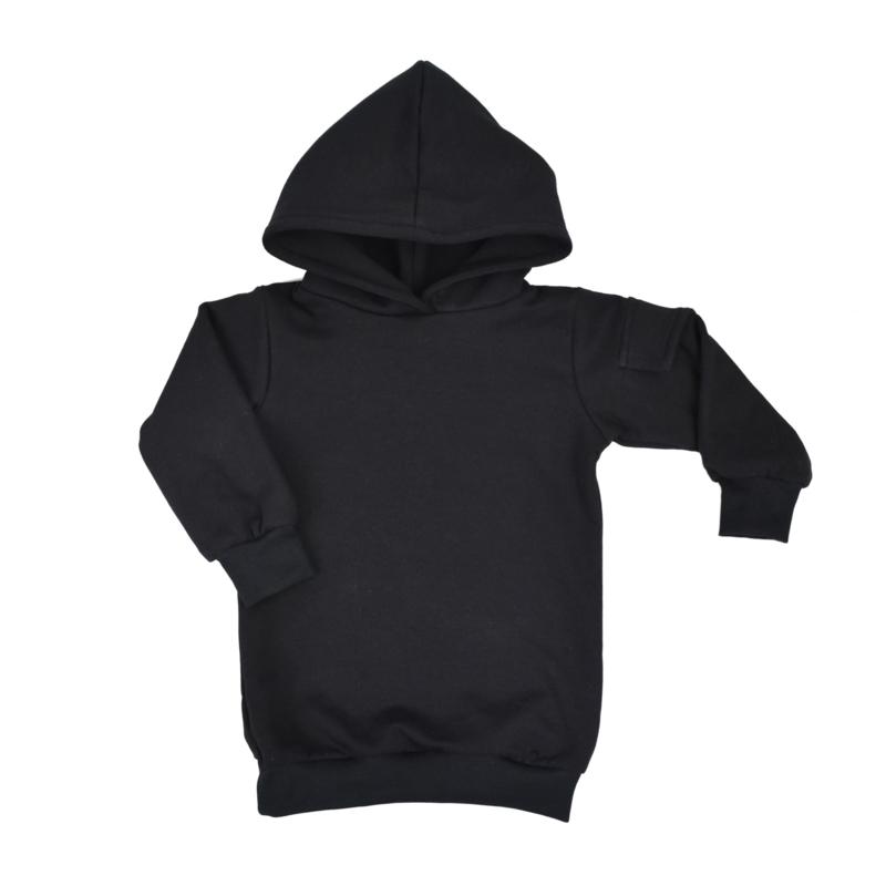 Baggy Hoodie Dress met Zijzakje | Black | Handmade
