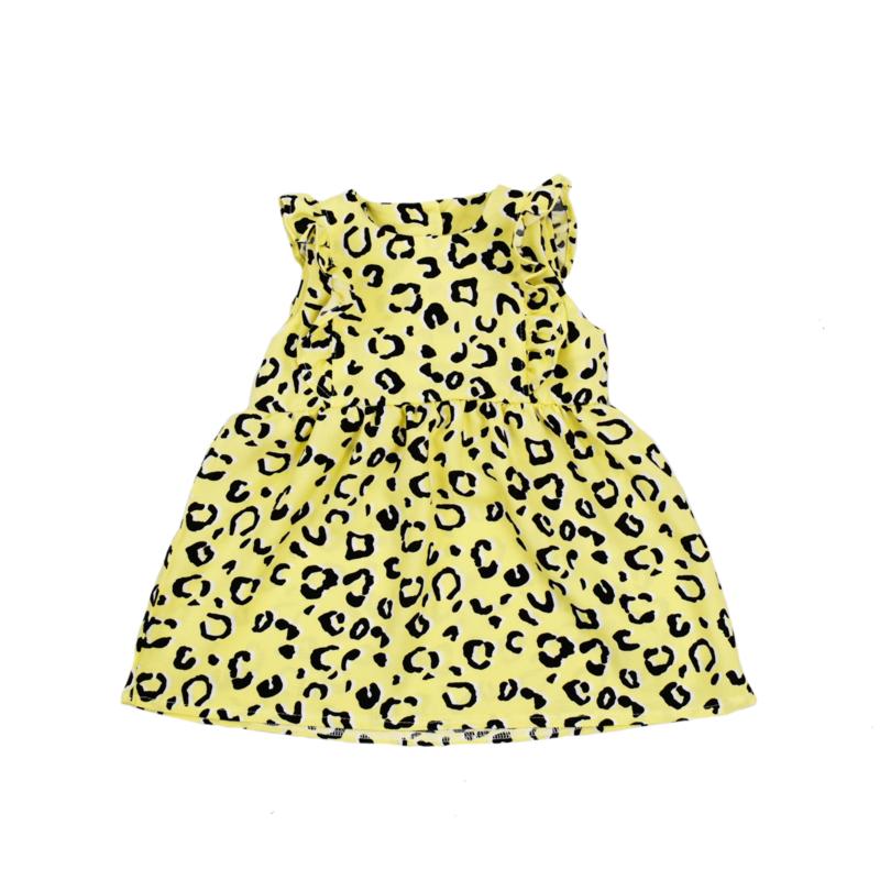 Ruffle Dress  | Yellow Leopard | Handmade