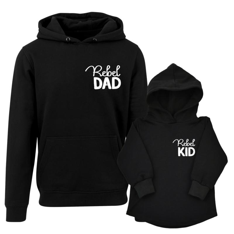 Twinning hoodies | Rebel Dad | Rebel Kid | Black