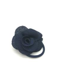 Elastiekjes met klein roosje marineblauw