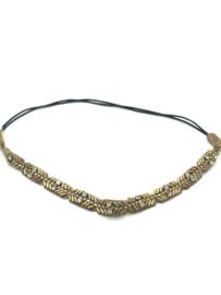 Haarband met pareltjes goud