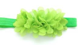 Babyhaarbandje  limoen groen met bloemen