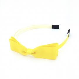 Diadeem met strikje geel
