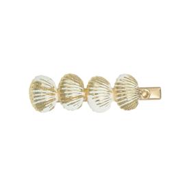 haarclips schelpjes goud/wit