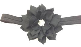 Babyhaarbandje zwart met bloem