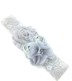 Babyhaarbandje in kant met bloemen grijs
