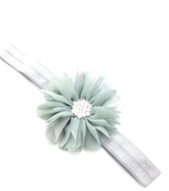 Babyhaarbandje grijs met bloem