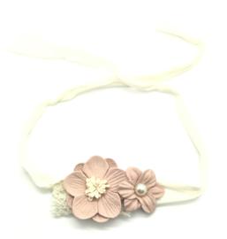 Haarbandje met bloemetjes oud roze