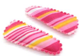 Baby/ peuter haarspeldjes roze gestreept
