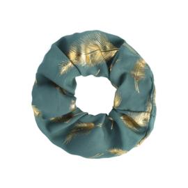 Scrunchies zeegroen met veertjes goud