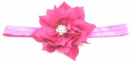 Babyhaarbandje roze met bloem