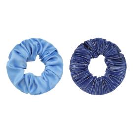 Scrunchies blauw/streepjes