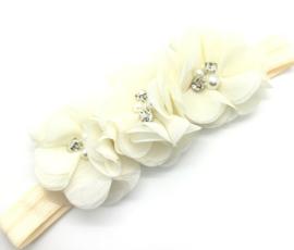 Babyhaarbandje met bloemetjes crème kleur