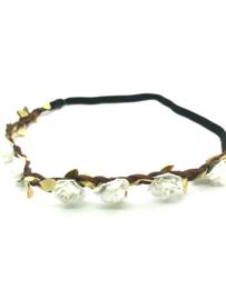 Haarbanden gevlochten leder met witte bloemetjes en gouden blaadjes