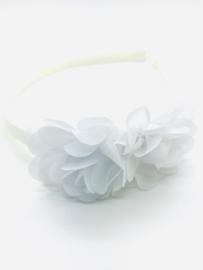 Diadeem met chiffon bloemen wit